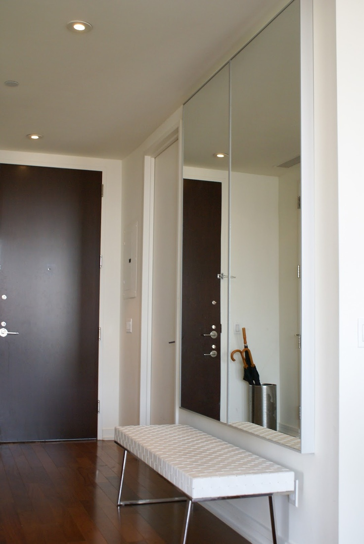put two ikea mirrors  hovet or stave  together to form one big reflective surface suitable for