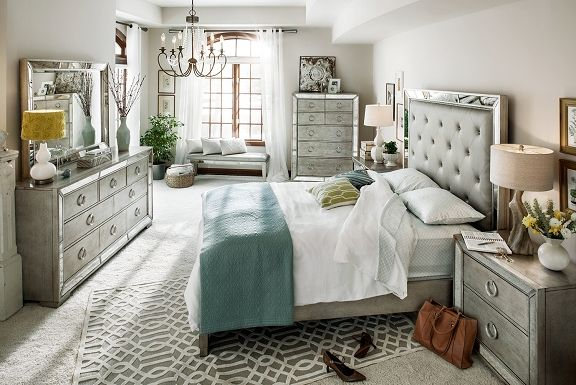 American Signature Furniture - Angelina Bedroom Collection-Queen Bed $999.99 [I want this bedroom soooo bad, but this is wayyyy outta my price range. A girl can dream though]
