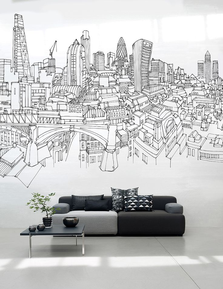 Large scale wall murals can transform your living room.