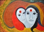 Friends, painting by Priti Desai, Oil on Oil Paper, 18 X 24 inches