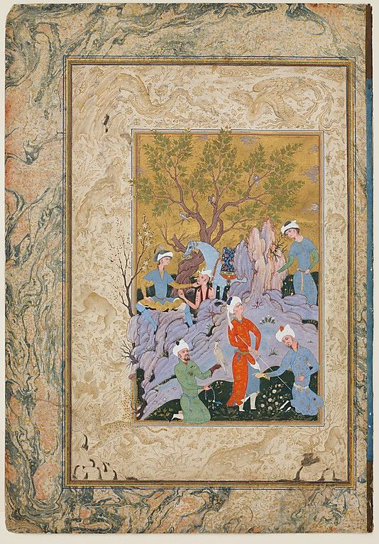 Princely Hawking Party Attributed to Mirza 'Ali (active ca. 1525–75) Date: ca. 1570 Geography: Iran, Qazvin or Mashhad Medium: Ink, opaque watercolor, and gold on paper Dimensions: H. 18 5/8 in. (47.3 cm) W. 12 3/4 in. (32.4 cm) Mat size: H. 24 in. (61 cm) W. 19 in. (48. 3 cm) Metropolitan Museum of Art 12.223.1