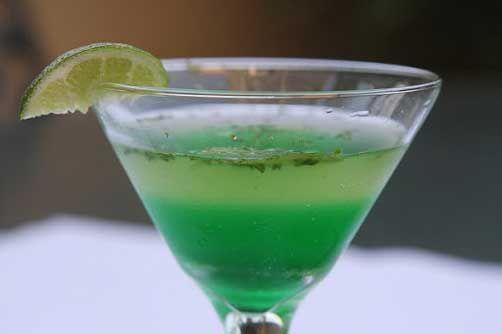 Irish Mojito: lime, mint leaves, bacardi, granulated sugar, ice, club soda, crème de menthe, lime wedges