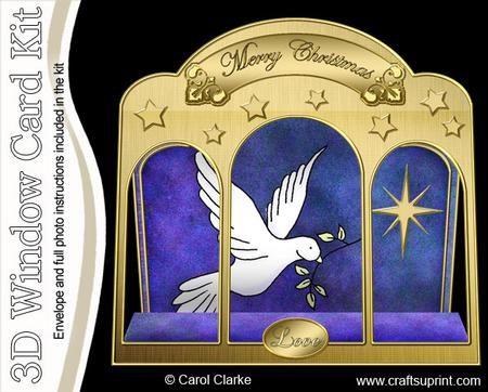 3D Xmas Dove Window Card Kit decoupage n envelope
