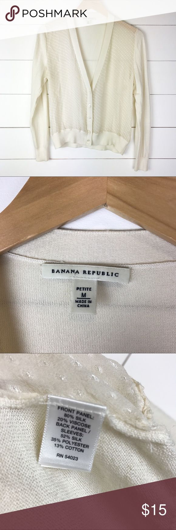 """Banana Republic Petite Cardigan Sheer Front Silk Gorgeous Banana Republic sheer front cardigan in petite size medium.  Silk blend with dainty dots in the sheer fabric.  MEASUREMENTS  Underarm to Underarm 20""""  Underarm to End of Sleeve 17""""  Length 23""""   A6 Banana Republic Sweaters Cardigans"""