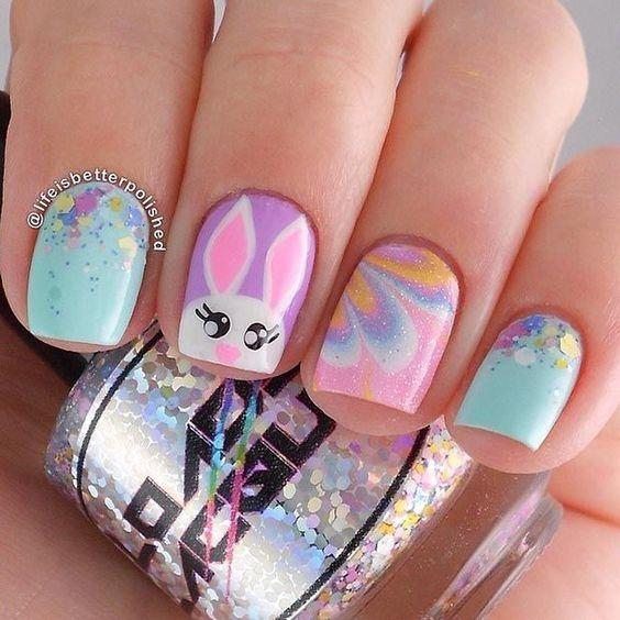 www.prettydesigns.com 25-bunny-nail-designs-spring-mani ombre-bunny-nails