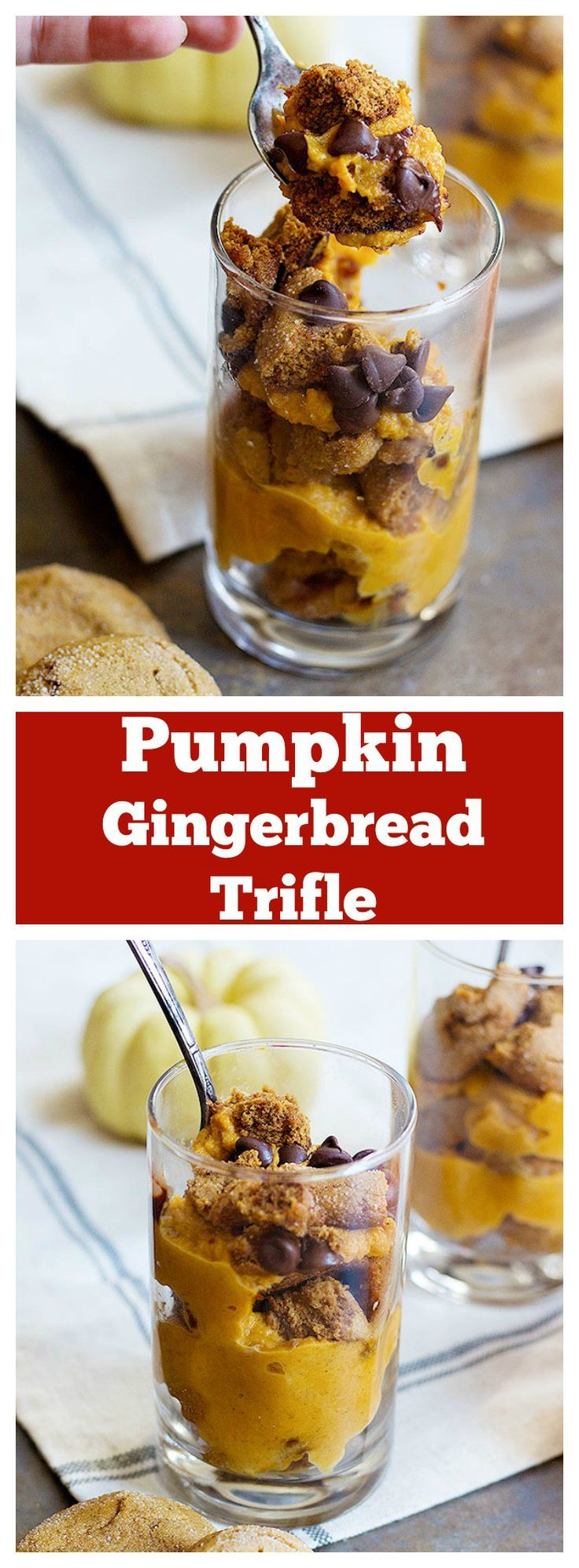 Pumpkin gingerbread trifle is an easy dessert you can make this holiday. It needs only a few ingredients, comes together in minutes and can be made in advance of your holiday gatherings! #BakeHolidayGoodness AD