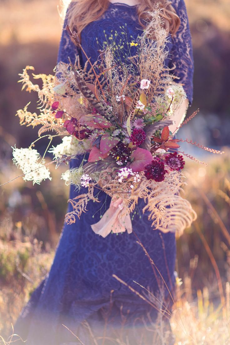Floral inspiration - wild flower, bracken and feather bridal bouquet. | Love My Dress® UK Wedding Blog http://www.craigsandersphotography.co.uk
