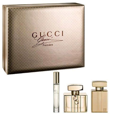 Gucci Premiere 3 Piece Gift Set for Women 2.5 oz. EDP Spray, 3.3 oz. Perfumed Body Lotion, 0.25 oz. EDP Spray by Gucci. Save 49 Off!. $89.99. Product:Gucci Premiere. Design House:Gucci. Gift Set includes: a 2.5 oz Eau De Parfum Spray, 3.3 oz Perfumed Body Lotion and a .25 oz EDP mini spray. Gucci Premiere is womanly, intriguing and as seductive as the perfect couture gown. The fragrance opens with the luxury and exuberance of a vintage champagne. A burst of effervescent bergamot fused with…