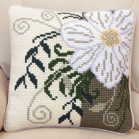 Corner Flower Cushion Front Chunky Cross Stitch Kit | sewandso