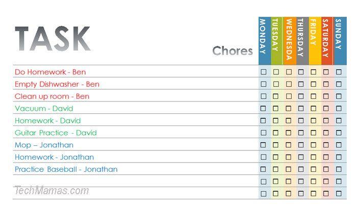 Chore List Template Chore List Chores Chore Chart