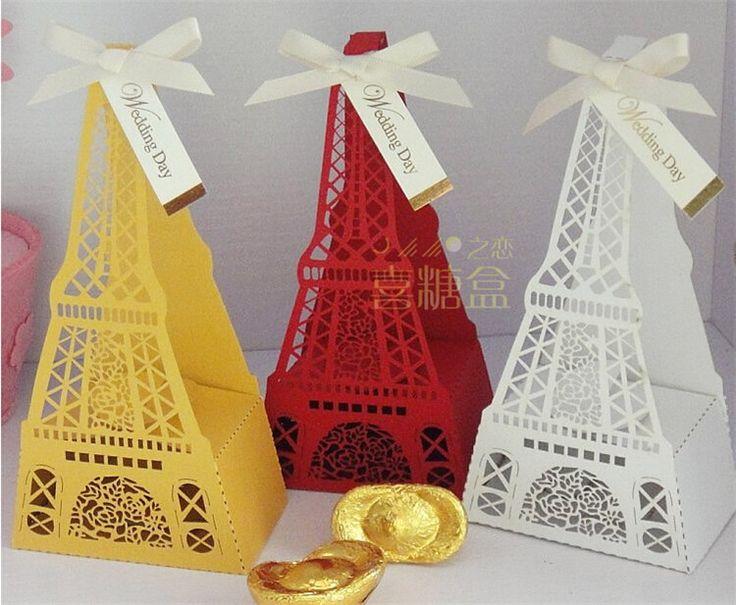 200шт Новинка 3 Цвет Эйфелева башня свадьбы пользу коробки и конфеты коробка подарка шоколада упаковывая с лентами + баллонной дар