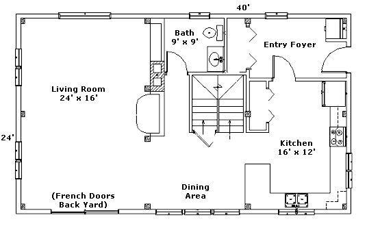 24x40 good floor plan 2 full floors so kinda big but nice for Open beam house plans