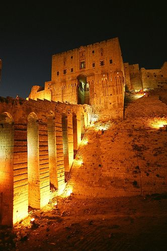 The Citadel at night, Aleppo, Syria.  There was a fire here a few months ago.  The war is destroying ancient treasures most people don't know exist.