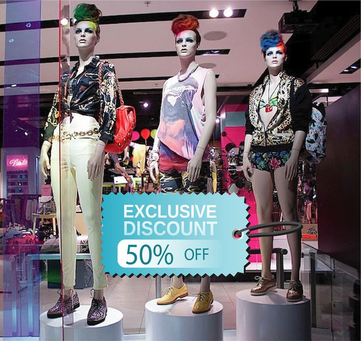 cik999 Full Color Wall decal selling exclusive discount clothing store window Showcases