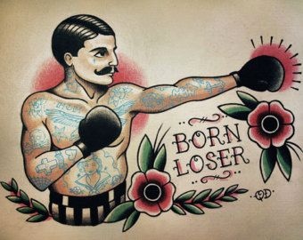 Boxing Theme Tattoo Flash Design   – old schoold