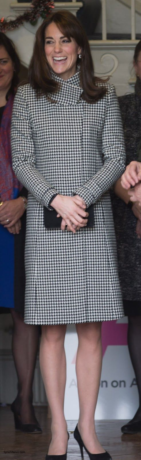 Duchess Kate: Kate in hrhduchesskate:  Visit to Action on Addiction Centre for Treatment Studies, Warminster, Wiltshire, December 10, 2015-The Duchess of Cambridge paired a Reiss Rubik Houndstooth Wrap Coat with her teal 'Alice' Emilia Wickstead dress and accessorized with her Stuart Weitzman Power pumps, Mulberry black suede clutch, and diamond and sapphire earrings.