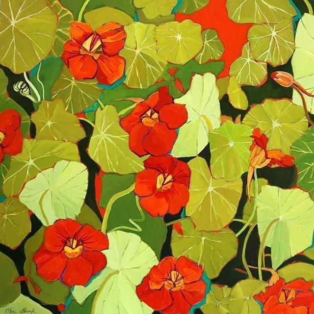 'Val's Vibrant Feast' Oil on Panel by Olive Stack #nasturtium #nasturtiums…