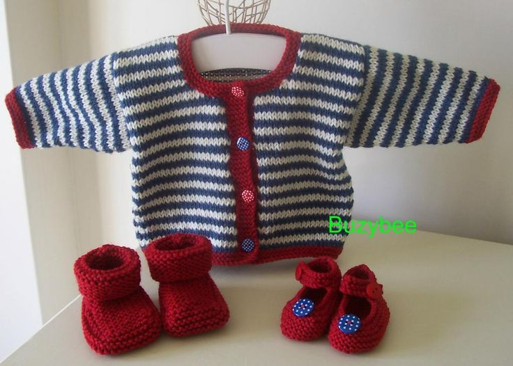 Striped knit Baby Sweater cardigan jacket, Red Baby Booties and Shoes