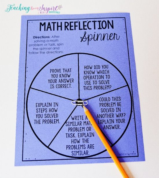 Use this math reflection spinner to get your students writing in math.!