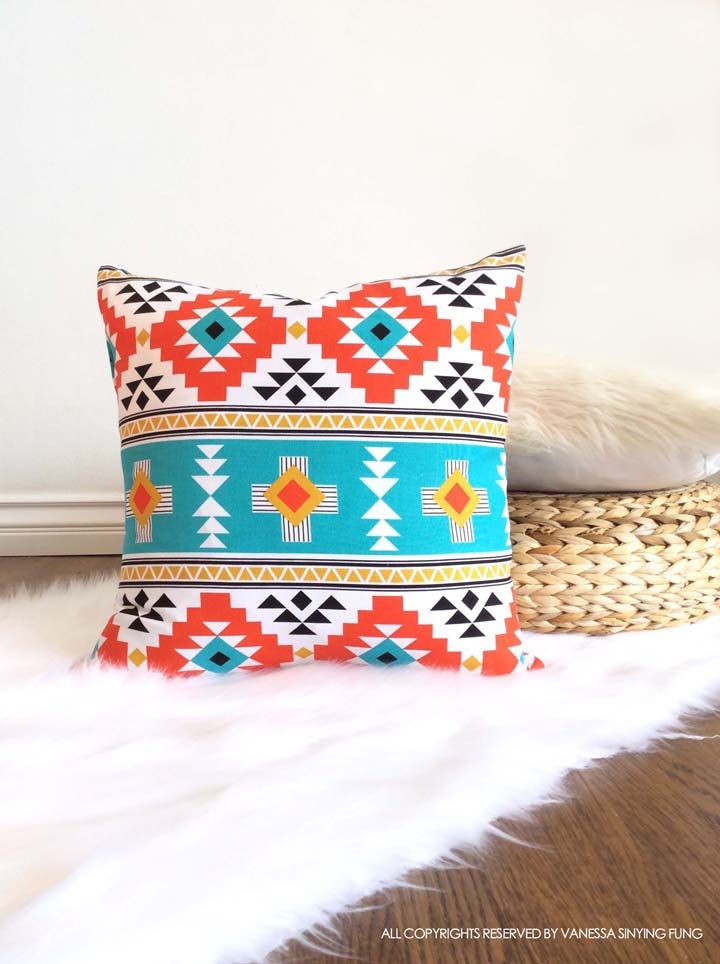 Scandinavian pillow cover geometric pattern 18 x 18 inches orange teal black triangle decorative modern cushion cover by VFIllustration on Etsy