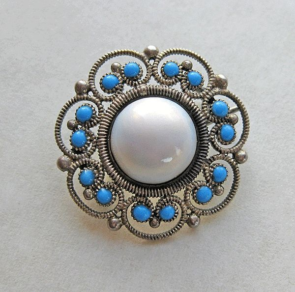 Antique Sterling Silver Enamel Norway Clement Berg Brooch Pin
