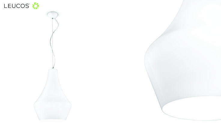 Alma by Riccardo Giovanetti. Hanging lamp with layered blown glass diffuser, available in polished white or polished black. #Leucos #Alma #Leucoslovablelamps #blownglass #white #suspensionlamp #lamp
