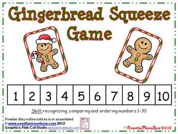 Freebie~These gingerbread cuties will help your students practice recognizing, comparing and ordering numbers 1-30!