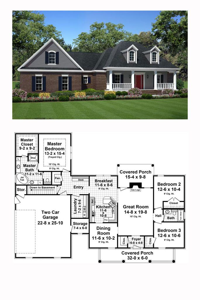 New House Plan 59981 | Total Living Area: 1815 sq. ft., 3 bedrooms and 2 bathrooms. #newhouseplan