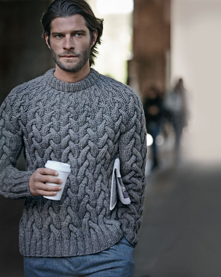Knitting Mens Jumpers : Wool cable knit chunky sweater from michael kors