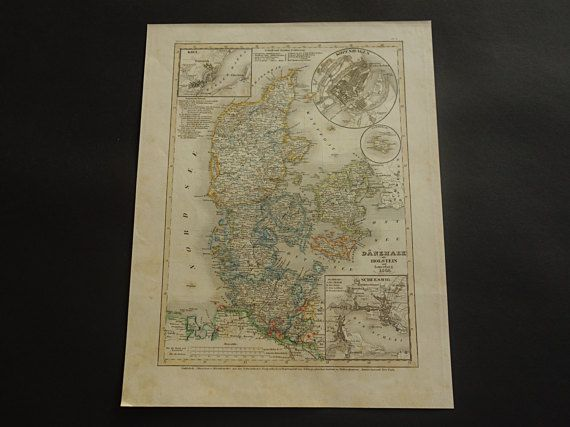 DENMARK old map of Denmark and Holstein 1849 by VintageOldMaps