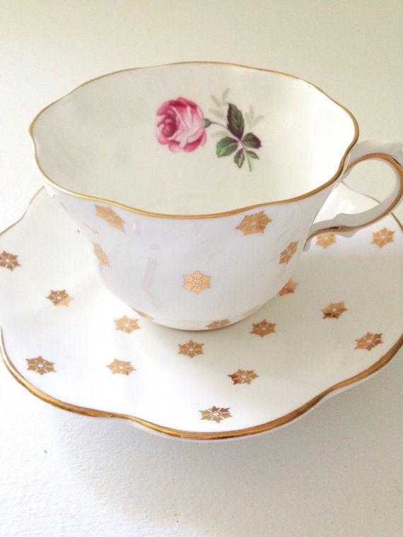 Vintage English Bone China Royal Taunton Teacup and Saucer Tea Party