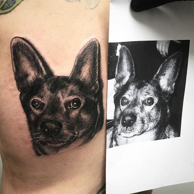 Retrato perro sesión de esta mañana @velascotejera para citas e info en @42ndtattoo #blackandgreytattoo #studio #barcelona #tattooing #tattoolife #inked