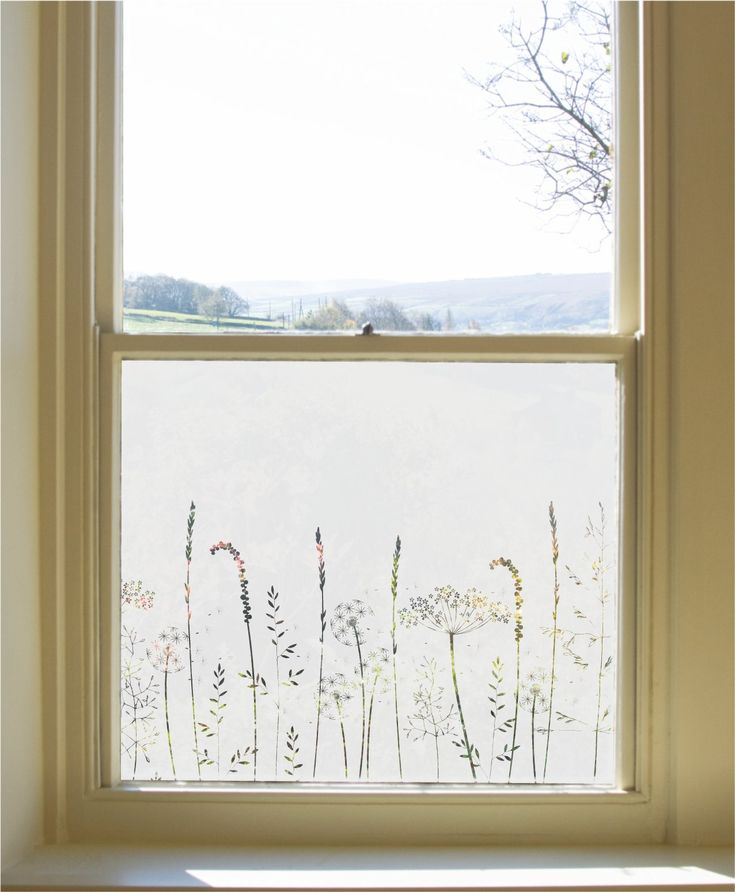 Paper Meadow's Edge Window Film                      – Hannah Nunn   #glass #decor #patterned #windowfilm #frosted