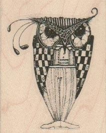 mounted rubber  stamp  Whimsical Owl   original by pinkflamingo61, $9.50
