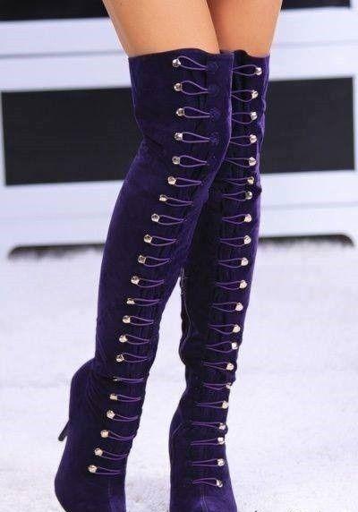 Botas altas alta la rodilla color violeta! :)