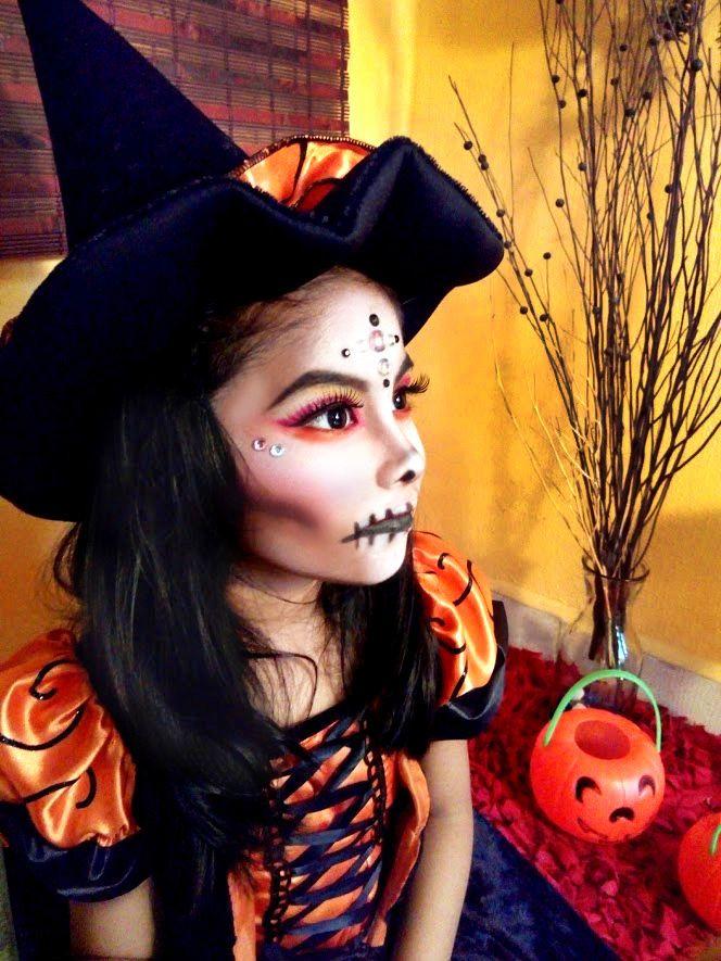 Maquillaje de bruja para hallowen de niña