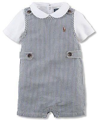 Ralph Lauren Baby Boys' 2-Piece Seersucker Shortall & Bodysuit Set