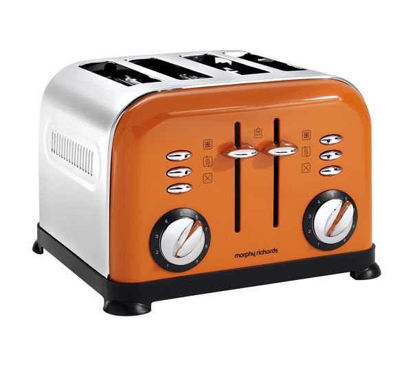 We love this funky toaster!  MORPHY RICHARDS Accents 44798 4-Slice Toaster - Orange | Free Delivery | Currys
