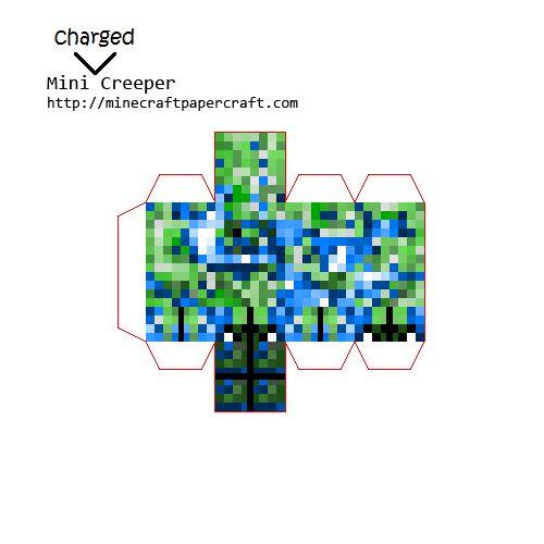 Papercraft Mini Charged Creeper Minecraft Pinterest