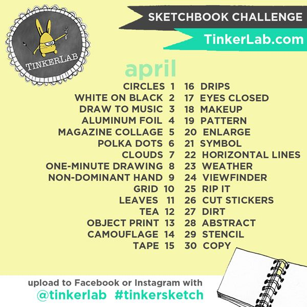 TinkerSketch Sketchbook Challenge on Instagram and Facebook: This fun, experimental, low-stress sketchbook challenge just started and it's not too late to join. Check out the hasthtag #tinkersketch for more.