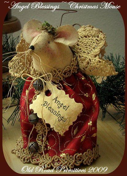 Angel Blessings Christmas Mouse Pattern-Christmas,Mouse,Pattern,ePattern,Angel,Old Road Primitives,Vintage,Primitives,ePatterns,Prims,
