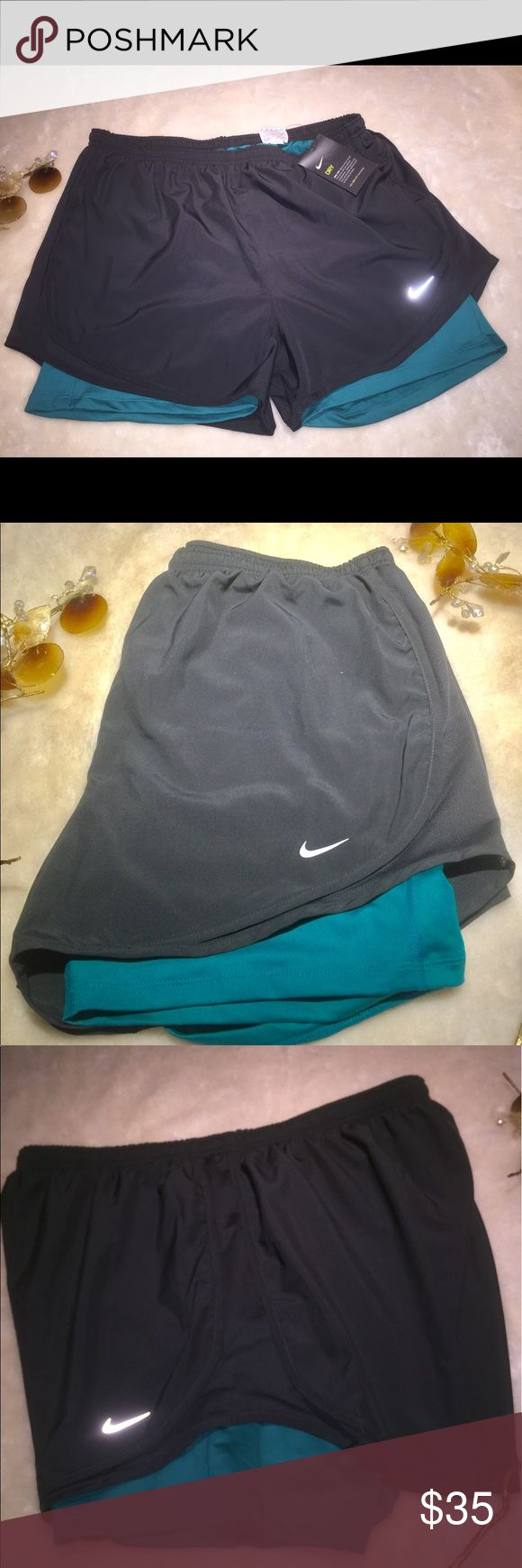 Woman's NWT Nike Dri Fit Jogger Shorts XL New With Tags Woman's Nike  Shorts Size XLarge  Gray Shorts with Teal Shorts Underneath  Dri Fit  Keeps you Dry & Cool Nike Shorts