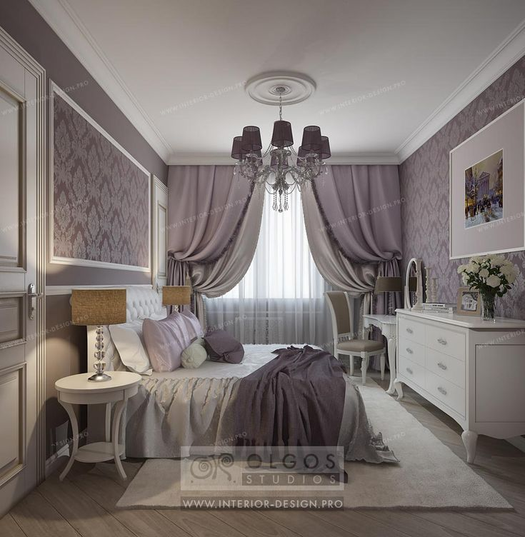 Bedroom interior in lavender colors