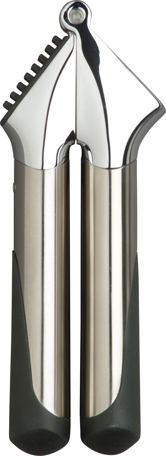 This ultra-modern OXO garlic press squeezes the maximum of pulp and juice from cloves of garlic.  Its hefty, attractive design offers great balance and a comfortable grip.  Minces garlic without peeling ensuring your hands stay odor free.  Easily clean the garlic press by using the reverse action hole cleaner. Polypropylene, stainless steel, Santoprene® and zinc alloyCleaning functionDishwasher-safeMade in China.