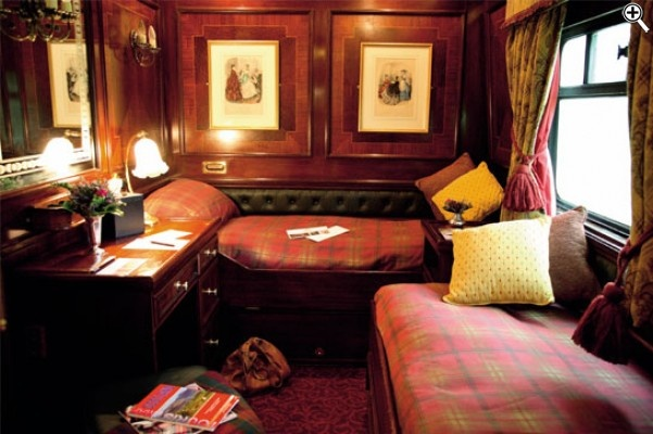 The Royal Scotsman is a luxury train run by the Orient-Express Hotels Ltd. Chain. The train takes a tour of Scotland between May and October each year. Luxury and exclusivity is served to a maximum of 36 guests in an evocative environment decorated in Edwardian-style, making your stay a trip back in time