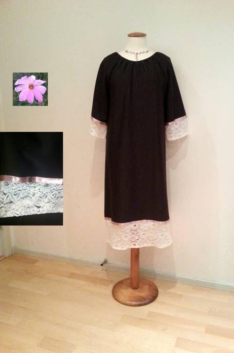 Black tunic dress sale white lace dress lace by WalinaWebshop