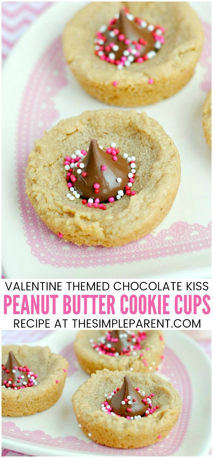 Peanut Butter Cup Cookies for Valentine's Day - These peanut butter cookie cups are soft and chewy. The peanut butter cookie with kisses makes it easy to add the Valentine touch! It's a great twist on your classic peanut butter cookie! #valentinesday #cookies #peanutbutter #Chocolate|  Use this #easy #recipe and let your children #decorate them! Add some cute #packaging and you have the perfect Valentine treat #forkids!