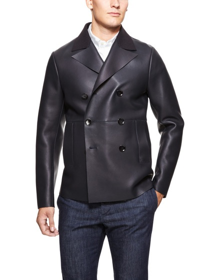 Leather Peacoat by Valentino