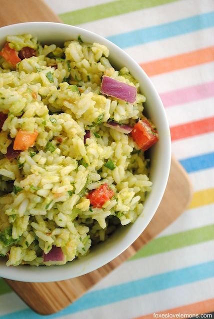 Guacamole Rice - all of the ingredients from guacamole, smashed into rice for a unique side dish!