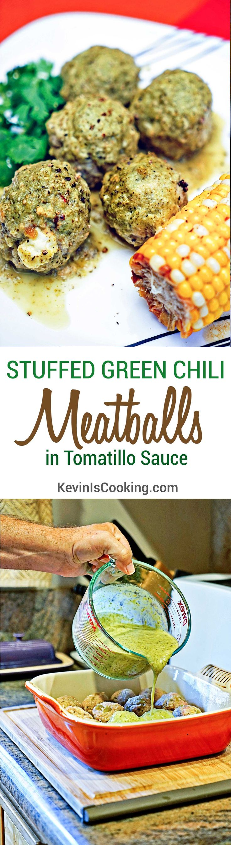 Stuffed Green Chili Meatballs in Tomatillo Sauce. .